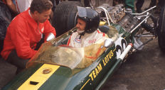 Jim Clark Team lotus and Keith Duckworth colour photograph 54cm x44 cm.