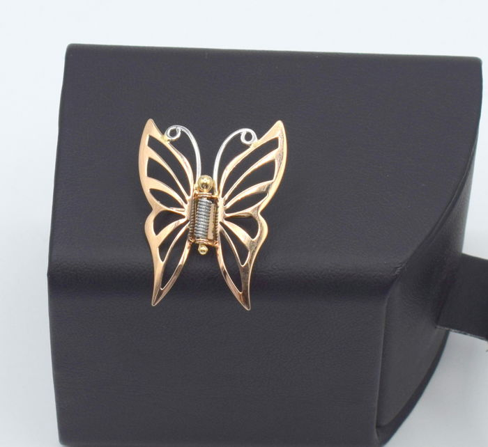 14 carat 585 rose and  white  gold  butterfly brooch