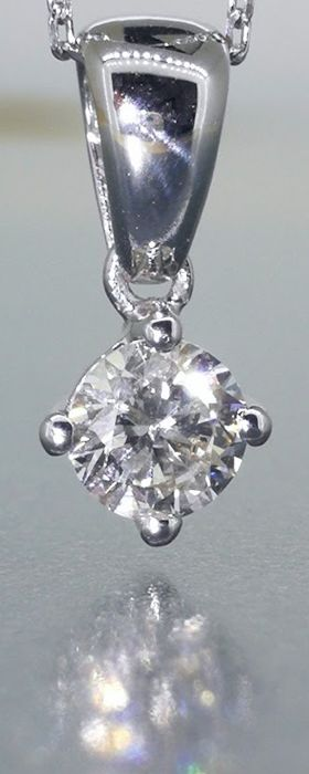 White gold solitaire pendant with one 0.35 ct brilliant cut diamond, included, free of charge: a 45 cm gold necklace ***No minimum price****