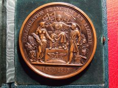 Algeria (colony) – Medal 'Napoleon III / Colonisation Française en Algérie 1830-1853' by F. Pingret in box – Bronze