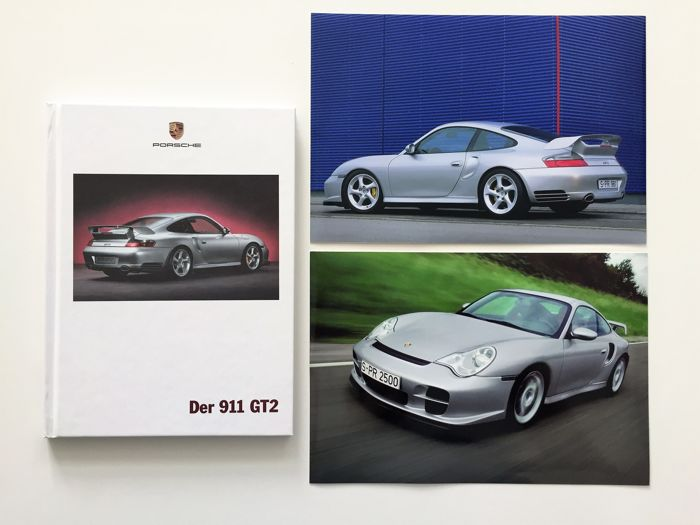 2002 Porsche 911 GT2 (996) brochure + 2 press photos