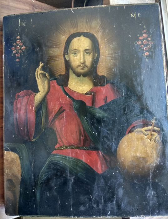 Russian icon (late 19th) - The Christ Pantocrator (33,1 x 26,2 cm)