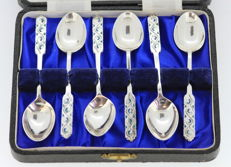 Silver set of six spoons with enamel - Liberty & Co - Birmingham - 1953