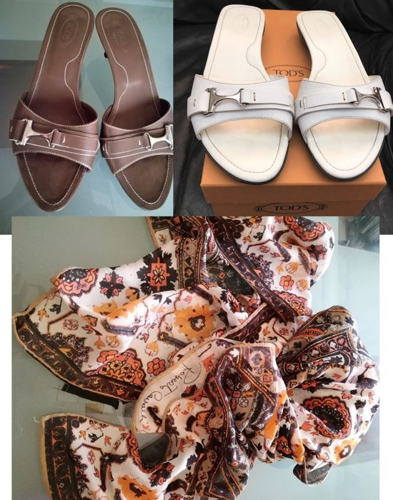 Tod's and Roberto Cavalli Set- Leather Sandals and silk Scarf