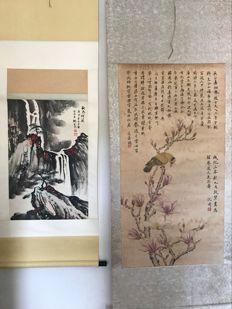 ink painting, made after Wei Zixi and a modern print reproduction of old painting of Sheng Zhou - China - late 20th century
