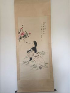 A scroll painting cat  - China - late 20th century
