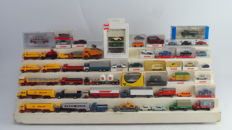 Wiking/Busch/Herpa e.a. H0  - 55 model cars and lorries from era II and III