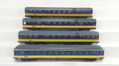 """Roco H0 - 44765/44287.1/63421 - 4 High speed train passenger carriages 2nd class """"ICK & Plan-W"""" of the NS  one with interior and rear lights"""