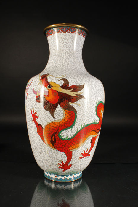 Large cloisonné vase with two dragons playing with a ball - China - first half 20th century