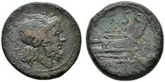 Roman Republic - Anonymous. Circa 88 BC(?). Æ Semis (21mm, 19,58 g.). Rome mint. Jupiter / prow of galley to right.
