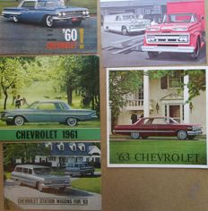Chevrolet - Lot of original brochures for Impala, Bel Air, Biscayne, Station Wagon and Corvair models - from 1960 to 1963