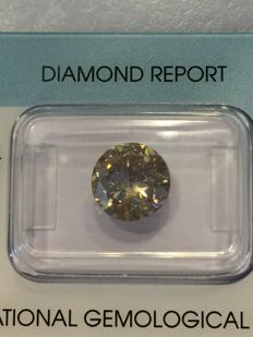 2.43 ct brilliant cut diamond - natural fancy Light yellowish Brown - P2