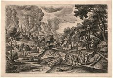 Hans Bol - Landscape with  Lot and daughters fleeing Sodom -  Engraved by Julius Goltzius ca. 1590