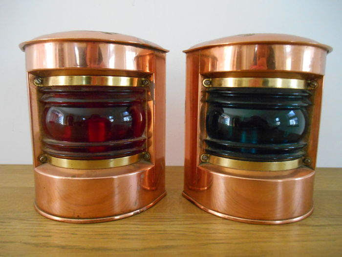 Copper stuurboord and bakboord lamp from ca. 1960-D.H.R. Holland