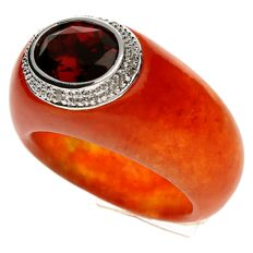 Ring - White gold - Coloured Jade set with Garnet and Diamond of 0.02 ct - size 15 1/4