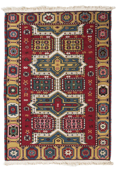 (Size: 141 x 93 cm) Authentic, original, oriental SUMAK Sumakh Tibetan rug with certificate of authenticity from an official appraiser - (Galleria Farah 1970) 93508