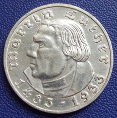 Third Reich - 2 mark 1933 A 450. Birthday of Martin Luther - silver
