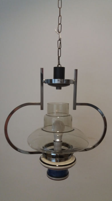 Ceramic one-light pending chandelier - metal and curved glass