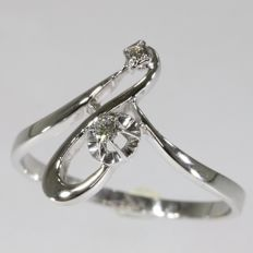 White gold creative design diamond ring from the seventies