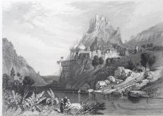 5 prints by Lemaitre (19th century) & J.Redaway -  Ruins at Ettaia & Hindus bathing in the Ganges..- c.1834/1850s