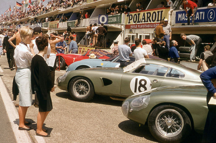 1963 Le mans 24 hour Aston Martin DP215 Colour pits    Photograph. 54cm x44 cm. Great Image.