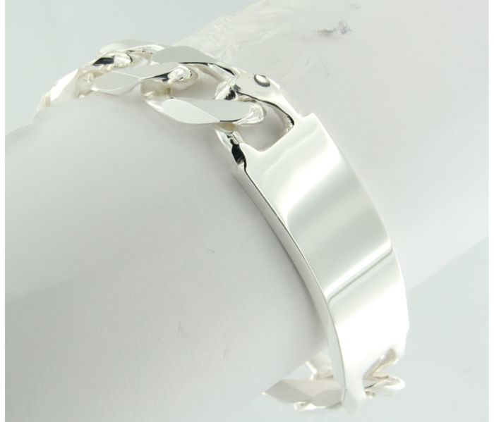 925 silver plate bracelet with curb links - 22.5 cm long