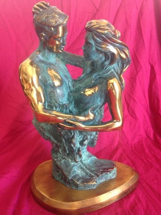 Couple in bronze made by Bromür, 1970s