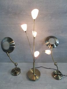 Three Jan Des Bouvrie Design lamps - Dimmable - brass - second half 20th century - Netherlands