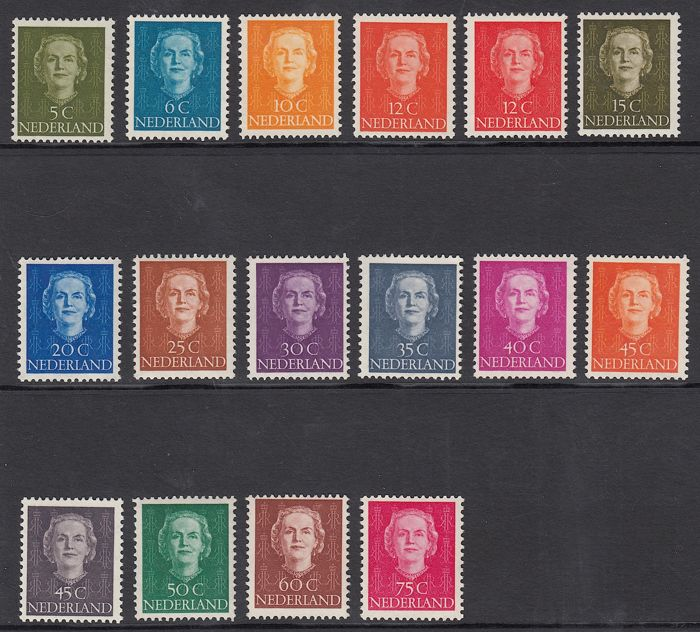 "The Netherlands 1949 – queen Juliana type ""En Face"" – NVPH 518/533."