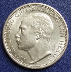 German Empire, Hesse -  3 mark 1910 A - silver