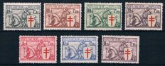 Belgium, 1934 – fighting tuberculosis (knights) – catalogue numbers 394-400, OCB 2014