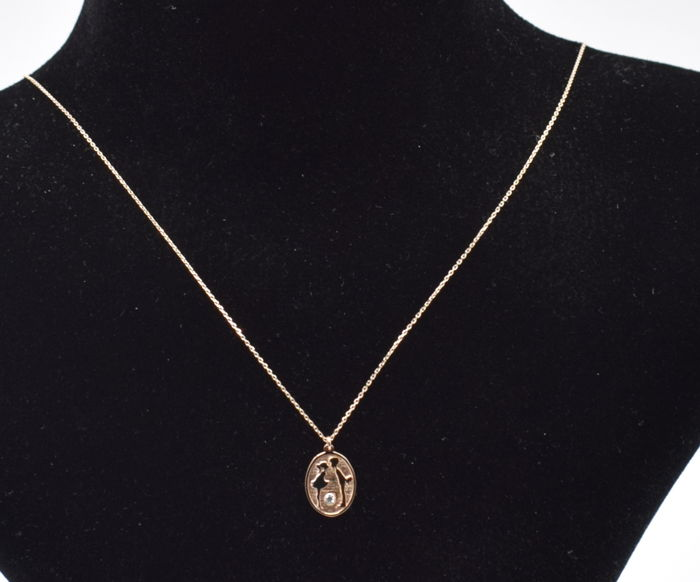 14k rose  and white gold  necklace with love    pendant  - 45 cm
