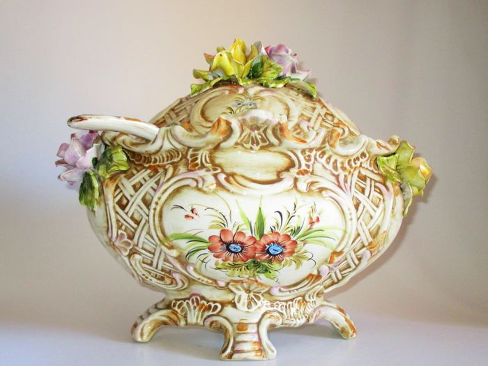 Soup Tureen Handmade  Baroque Style with beautiful Roses signed and numbered