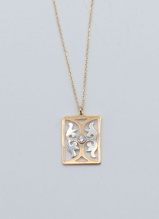 14k rose and white  gold  necklace with square   pendant  - 45 cm