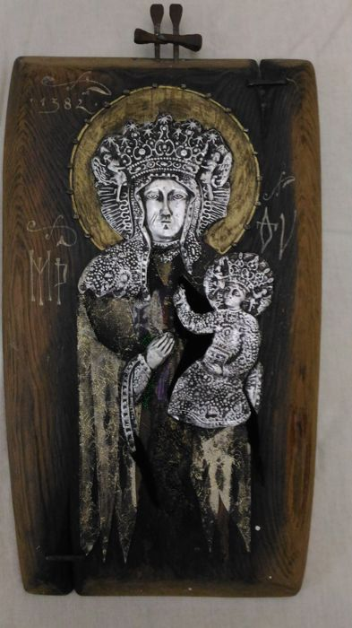 Madonna with Child on wood