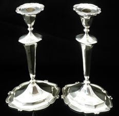 Pair of silver candlesticks, R & W Sorley, Glasgow 1934
