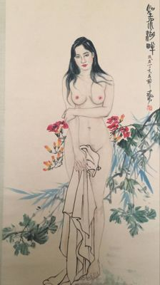 Naked woman scroll painting - China - late 20th century