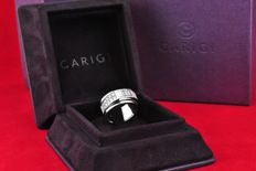 Carigi - Exquisite Baguette & Round cut Diamond (+/-1.50ct G (top wesselton)/VS) set on 18k White Gold Ring + Box - E.U Size 55 *Re-sizable