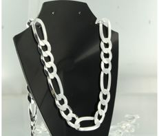 925 silver Figaro necklace - 60 cm long