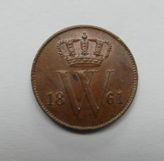 The Netherlands – 1 cent 1861, Willem III – copper