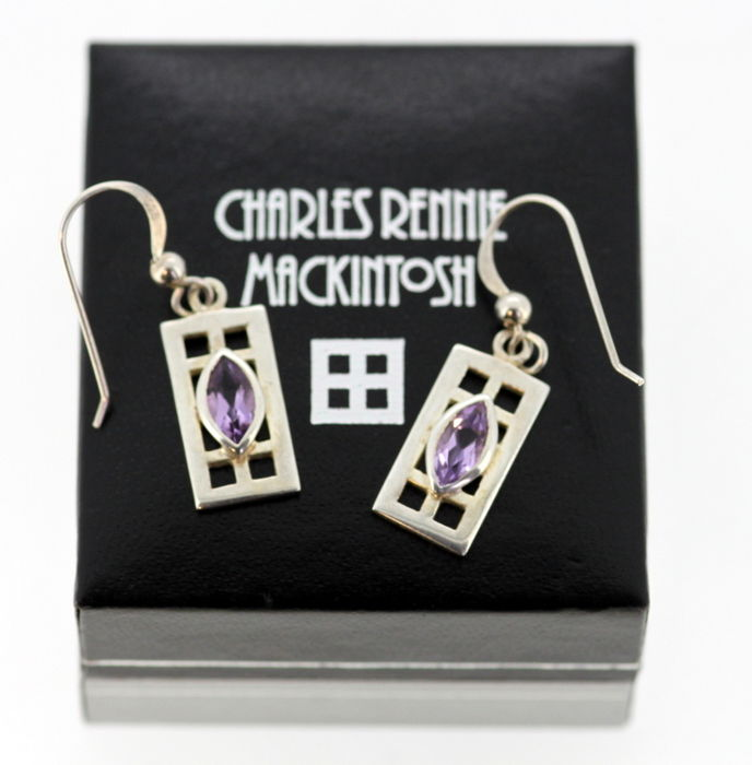 Charles Rennie Mackintosh - Vintage sterling silver pair of earrings with amethyst ( 0.80 CT Total )