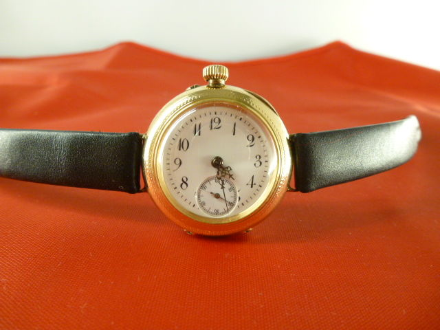 Women's gold wristwatch, late 1800s.