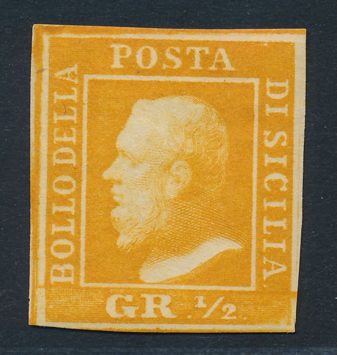 Sicilia 1859 - 1/2 gr. Yellow Type II - Sassone: 2