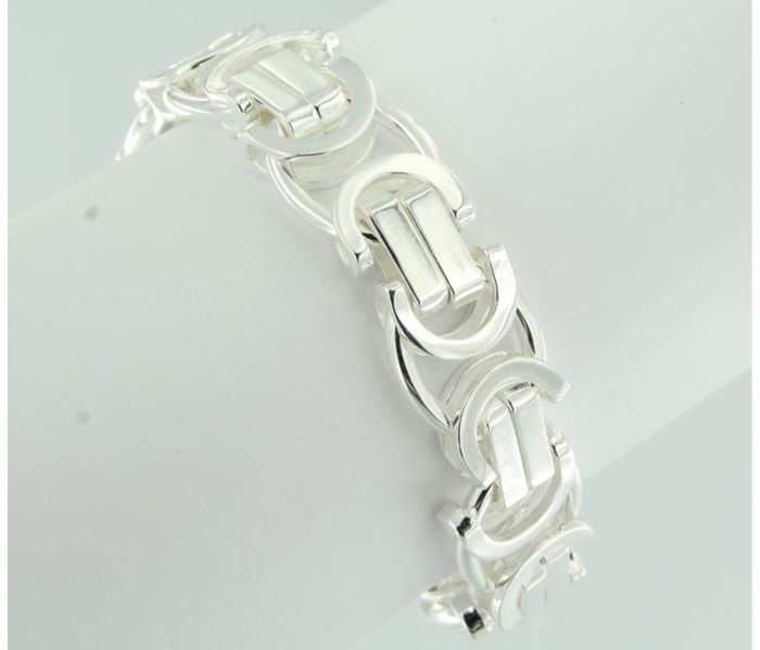 925 silver flat king's braid link bracelet - 22 cm long