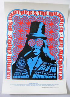 """Janis Joplin Big Brother 1966  Family Dog Poster San Francisco """"Indian with the Swirling Eyes"""" by Victor Moscoso 1966"""