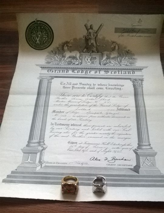 "Old certificate ""Grand Lodge of Scotland"" and Two Men's Signet Rings."