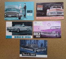 Buick - Lot of 5 original brochures for the models Riviera, Roadmaster, Century, Electra, Le Sabre, Invicta - from 1954 to 1960