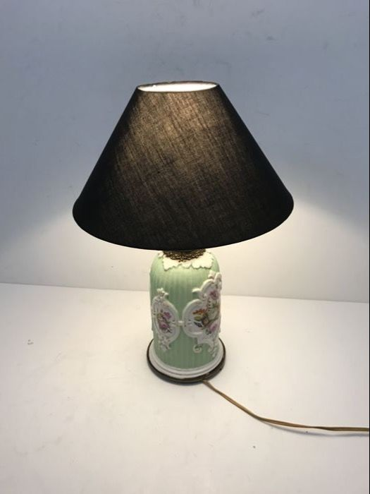 Porcelain coloured table lamp with a linen shade, France, ca. 1920