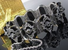 Silver bracelet with onyx and marcasite
