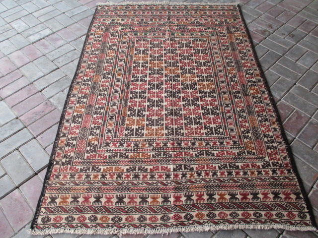 3408 # STUNNING SUPER QUALITY HAND MADE NEEDLE WORK SUMAK WOOL KILIM 126 x 187 CM